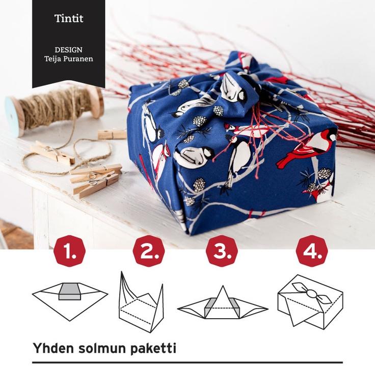 Great for Xmas! Basic Carry Wrap Furoshiki | Yhden solmun Furoshiki-paketointi
