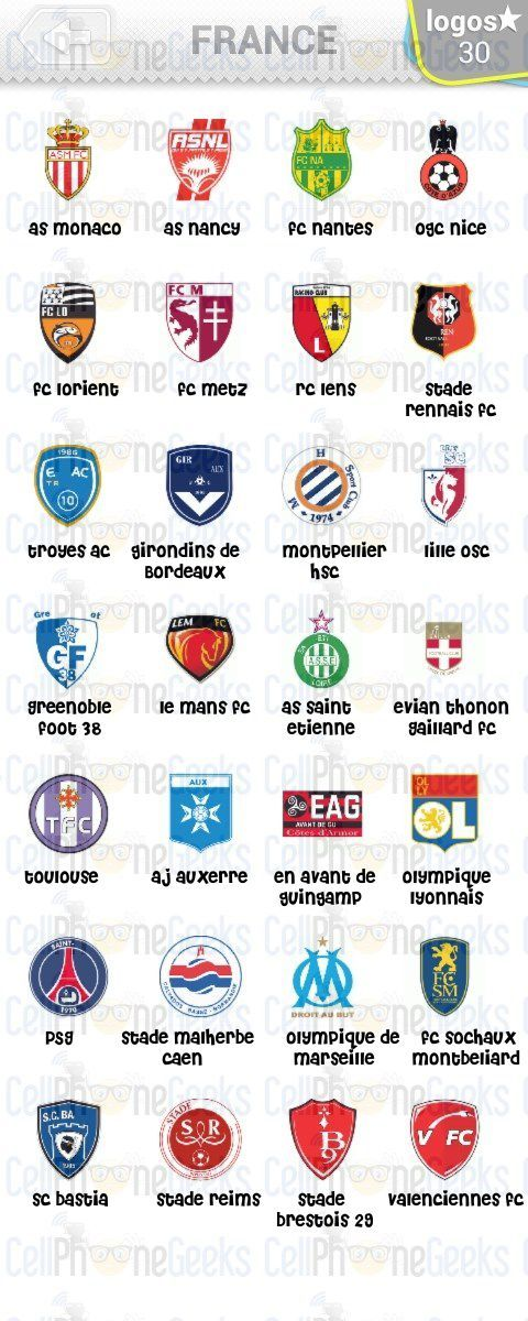 Level 4 – Logo Quiz Football Clubs France Answers
