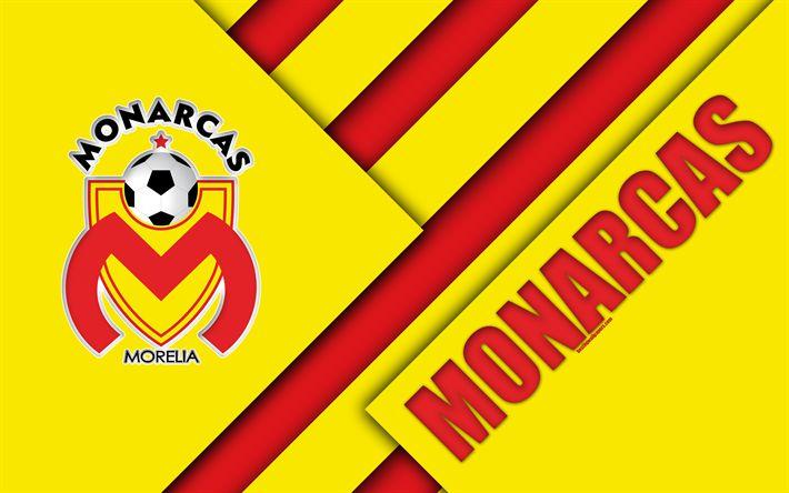Download wallpapers Monarcas FC, 4K, Mexican Football Club, material design, logo, yellow red abstraction, Morelia, Michoacan State, Mexico, Primera Division, Liga MX, Monarcas Morelia