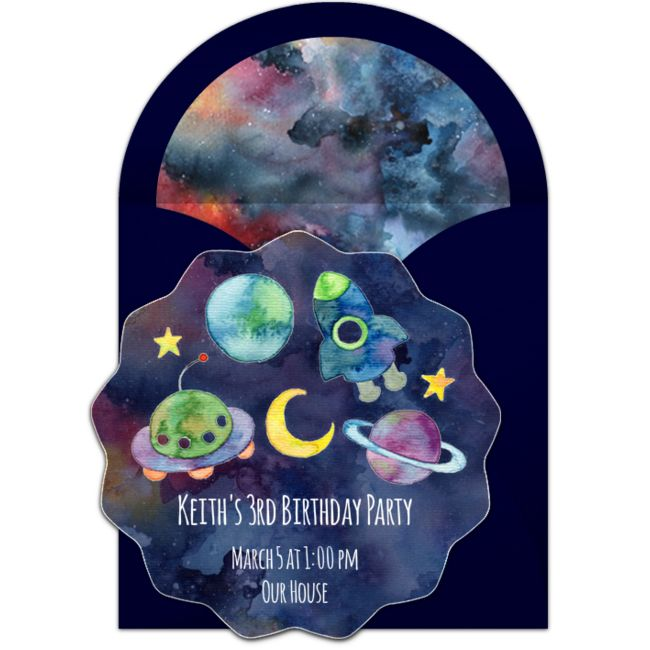 A great free birthday party invitation featuring an outer space design. We love this for inviting friends to a birthday party or trip to the planetarium.