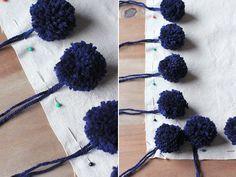 pompones alrededor de 1 almohadon como coserlos