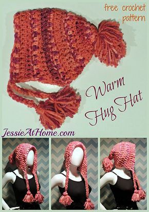 Warm Hug Hat ~ free crochet pattern by Jessie At Home How to print free version - Install two free apps - Clearly and Evernote. Save pattern into Clearly and then direct link from Clearly into Evernote. You will now be able to print free version.