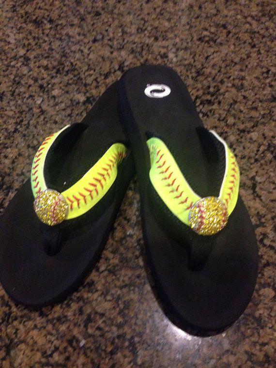Softball Baseball flip flops with strap on Etsy, $35.00