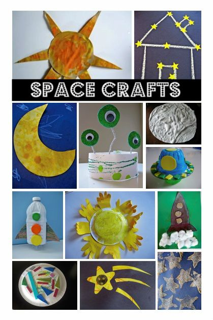 Space Themed Crafts.  Maybe a week summer theme activity.  Find books, crafts and activities about space.