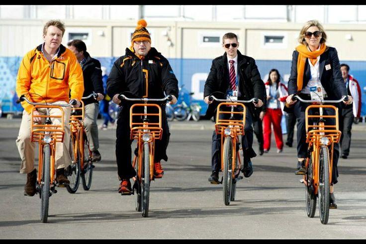 Oranje fietsen