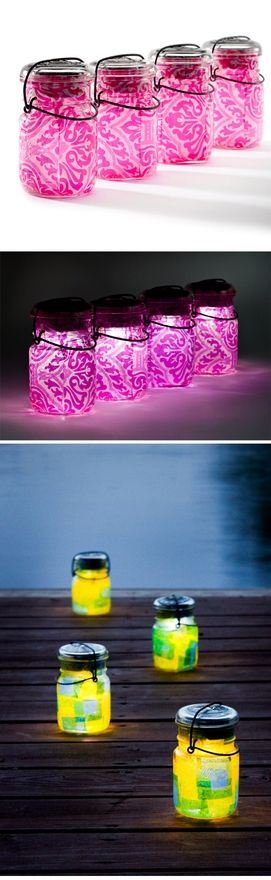 Mason Jar Glowing Party Lights For Summer NO Flame!!  Put tissue paper in a mason jar, then a flameless candle (battery operated) and put lid on. Line your sidewalk or put on tables for an outdoor party.