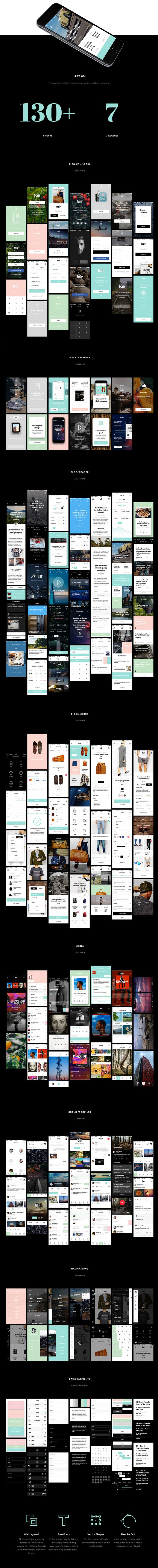 Fair Mobile UI Kit is the excellent assistant for fast creation of your project. In it excellent fonts and colors, which now in a trend are picked up. Each project which will be made by means of it will be modern and convenient in use. Categories: Sign Up, Blog, E-commerce, Walkthrough, Navigations, Media, Social/Profiles, Basic …