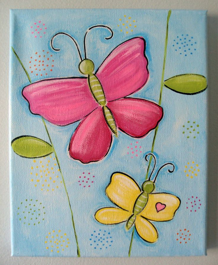 8x10 butterfly canvas kids pinterest summer spring for Canvas art ideas for kids