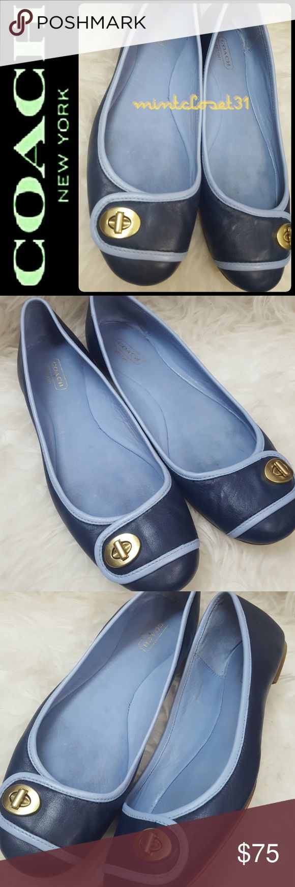 Coach Leather Flats Coach Signature Shoes in Gorgeous Leather Upper Leather Flats! Iconic Coach Brand in Round Toe Style with Gold brass tone Turn Lock Detail on Vamp! Get Classy with this Navy Shade in minimalistic design for anytime wear!  Features Tonal Stitching with Softly Padded footbed! Top Notch quality to last a lifetime! Used in Good Condition! Size US 8 1/2B! Coach Shoes Flats & Loafers