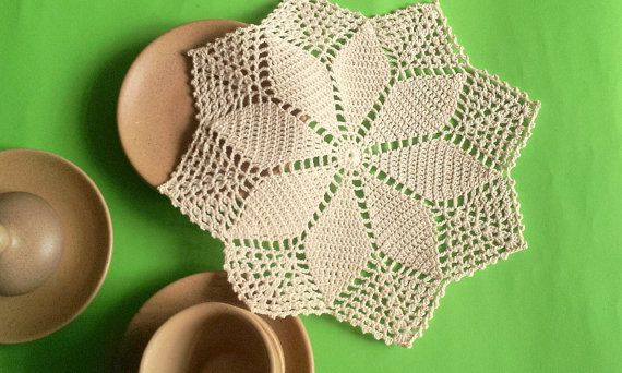 Crochet Round Cream White Doily Centerpiece Crochet Home Decor Crochet Table Decor made in Lithuania