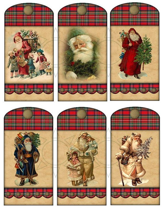 Christmas Tags 4 X 2 Vintage Santa  Set of 6  A by SimplyDRave