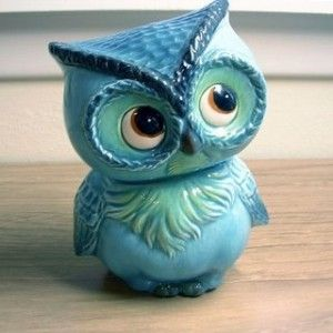 Awe! Little blue owl bank