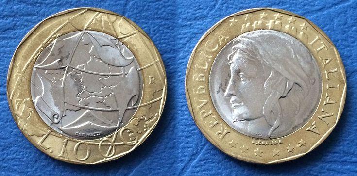 Italia. 1000 lire 1997 e 1998 cartina corretta