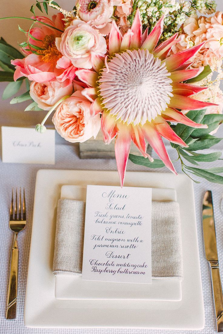 Protea centerpiece | Workshop Hosting, Styling, Design + Florals: Hey Gorgeous Events - heygorgeousevents.com | Photography: Bradley James Photography - bradleyjamesphotography.com | Floral Assistance: Bows & Arrows - bowsandarrowsflowers.com  Read More: http://www.stylemepretty.com/little-black-book-blog/2014/06/03/trouvaille-workshop-wedding-inspiration/