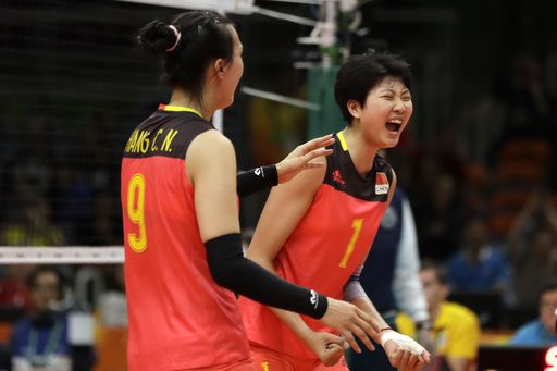 US women hold off scrappy Netherlands team in 5 sets  -  August 8, 2016  -        China's Zhang Changning (9) and Yuan Xinyue (1) celebrate during a Women's preliminary volleyball match against Italy at the 2016 Summer Olympics in Rio de Janeiro, Brazil, Monday, Aug. 8, 2016. (AP Photo/Matt Rourke)