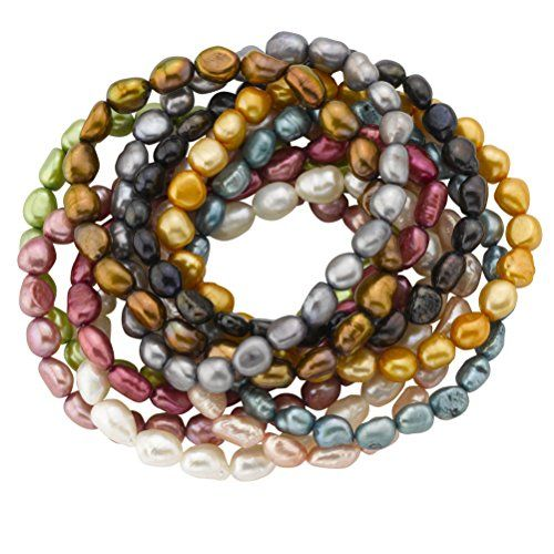 "Freshwater Cultured Pearl Stretch Bracelets, Vibrant Colors, 7.5"", Set of 10 * FIND OUT MORE DETAILS @: http://www.passion-4fashion.com/jewelry/freshwater-cultured-pearl-stretch-bracelets-vibrant-colors-7-5-set-of-10/"