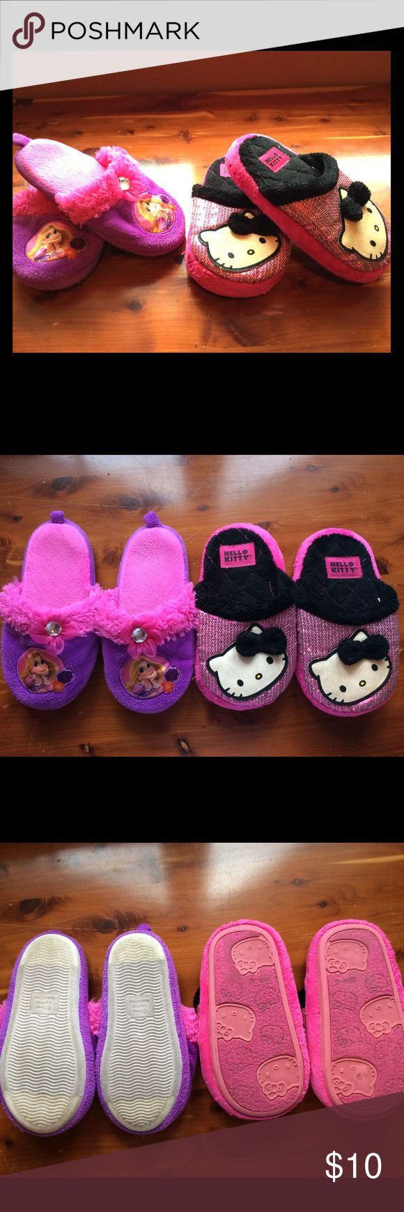 Disney Rapunzel & Hello Kitty slippers 😻 Two pair of slippers just perfect for your princess! Both size 11/12 and in good used condition. Clean, soft, fuzzy, jewels and sequins attached. Soles are good and can walk outside even when it's wet! Great used in a bundle with a discount too!! 😉 disney/hello kitty Shoes Slippers