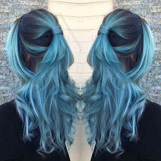 Dusty Pastel Teal Hair