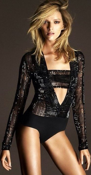 Daria Strokous for La Perla - her jacket looks like its made from the city skyline