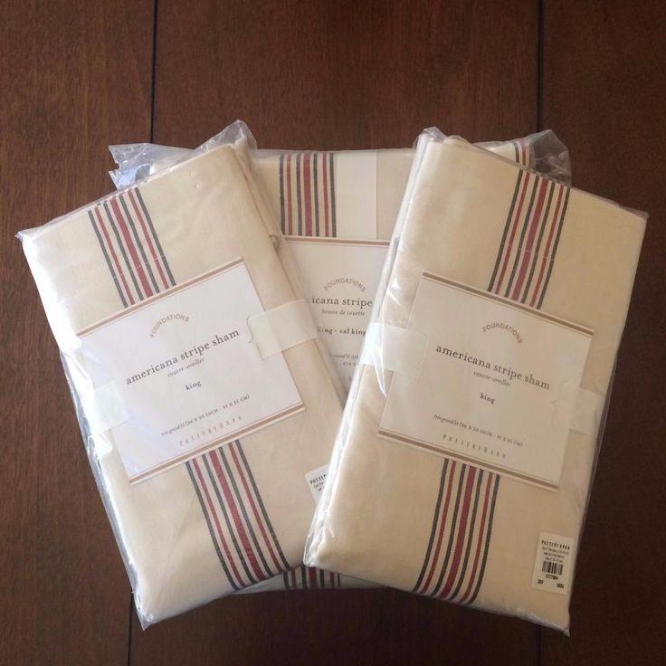 NEW POTTERY BARN 3PC Americana Stripe King Duvet Cover + 2 King Shams Bedding…