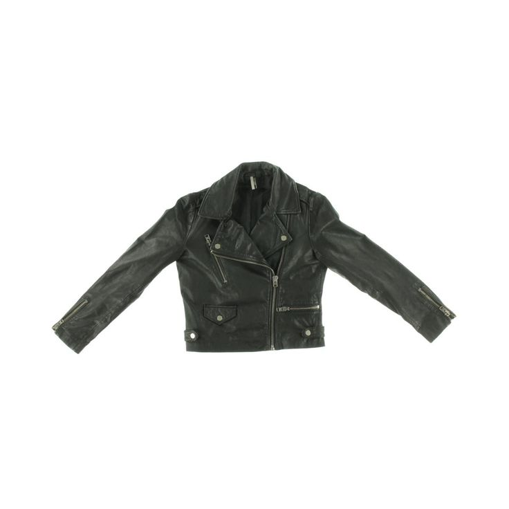 TopShop Womens Leather Solid Leather Coat