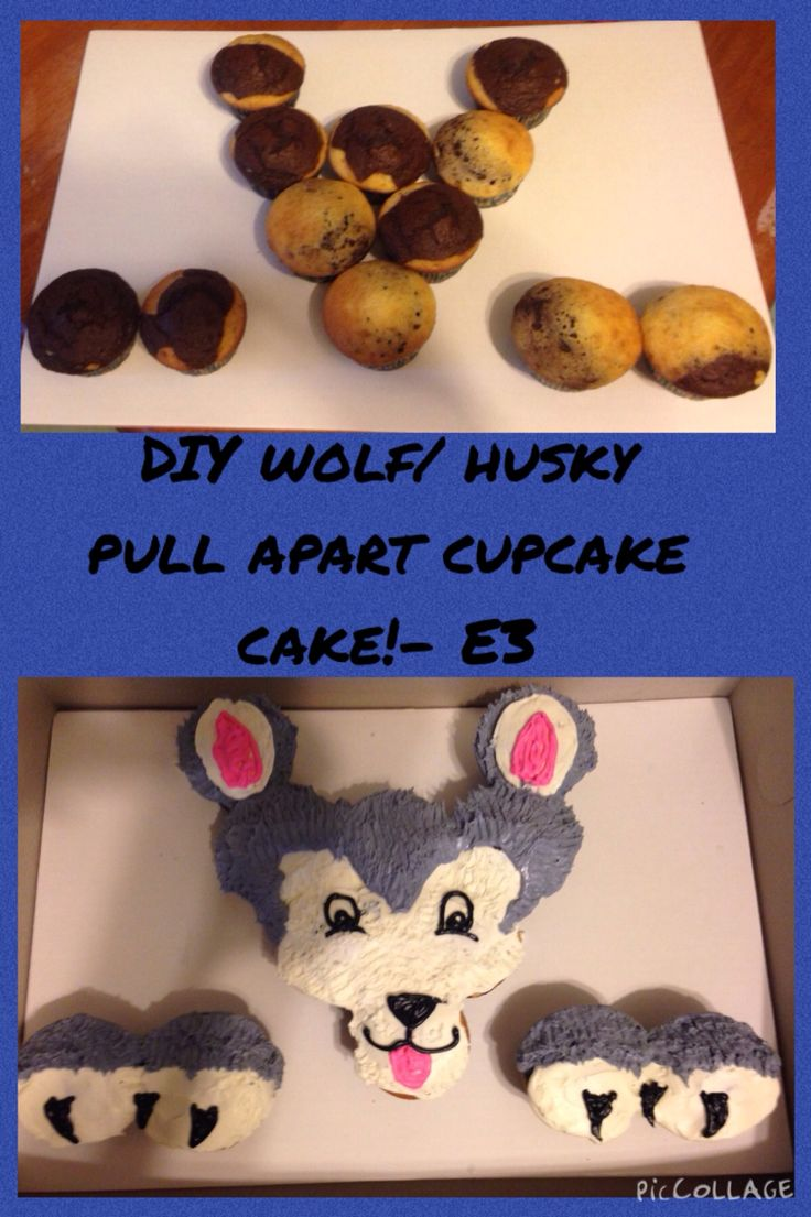DIY Wolf cupcake cake!- by E3 use fork to get the fur effect - Husky pull apart cake