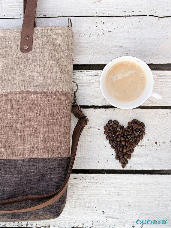 FREE SHIPPINGBrown-Light Brown-Beige Handbag Striped Bag by buboxa