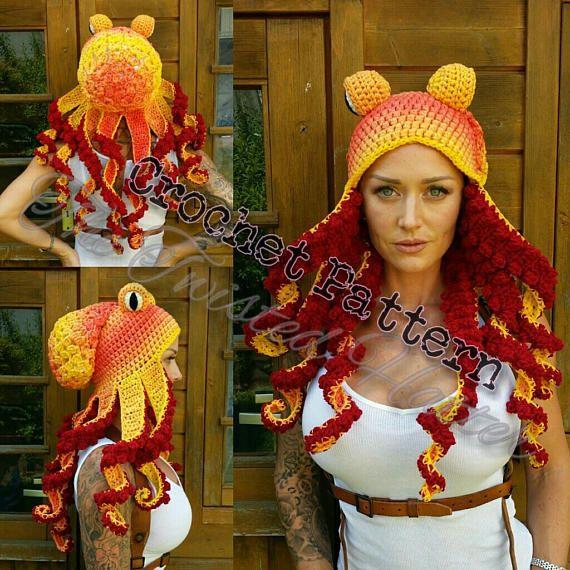 Crochet Octopus hat Pattern $8.00