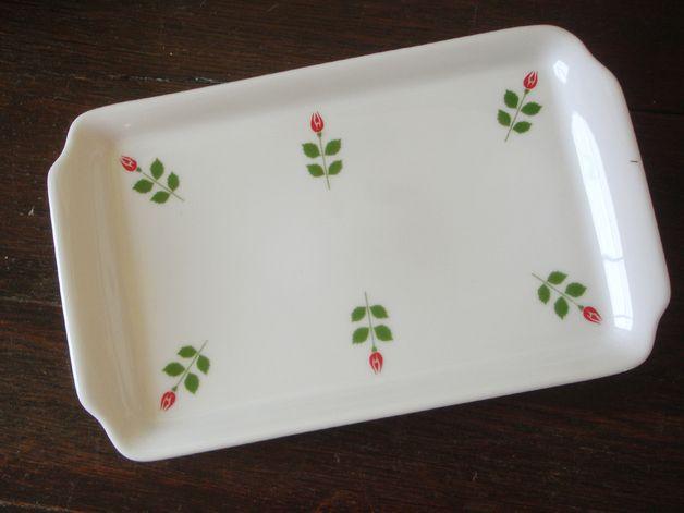 Kleines Porzellan Tablett - Röschen / Rosendekor