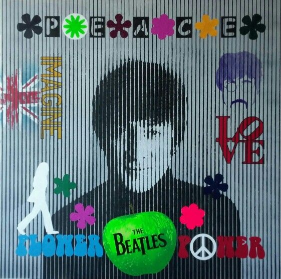 John Lennon in progress Acrylic on canvas 100x100cm #Lennon #thebeatles #painting #art #uk #liverpool #interior