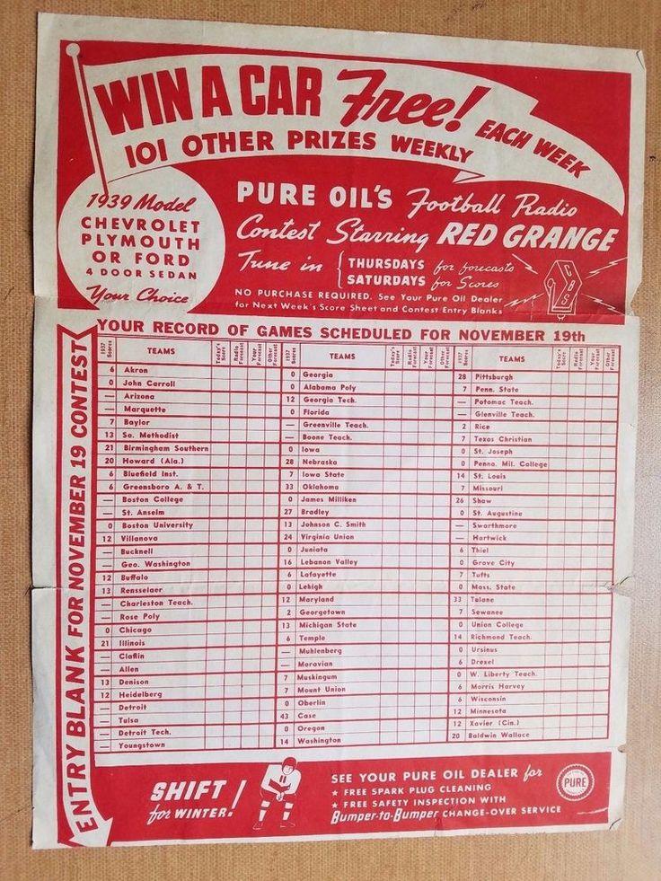 1939 RED GRANGE radio contest single sheet - trifolded #ChicagoBears