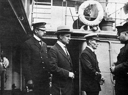 Inspector Reid, H.H. Stevens and Walter Hose on board the Komagata Maru.