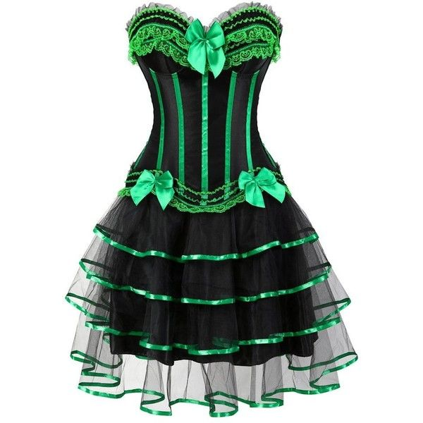 frawirshau Gothic Halloween Lace up Corset Skirt Moulin Rouge Showgirl... ($20) ❤ liked on Polyvore featuring costumes, goth halloween costumes, showgirl halloween costume, elegant halloween costumes, can can dancer costume and gothic halloween costumes