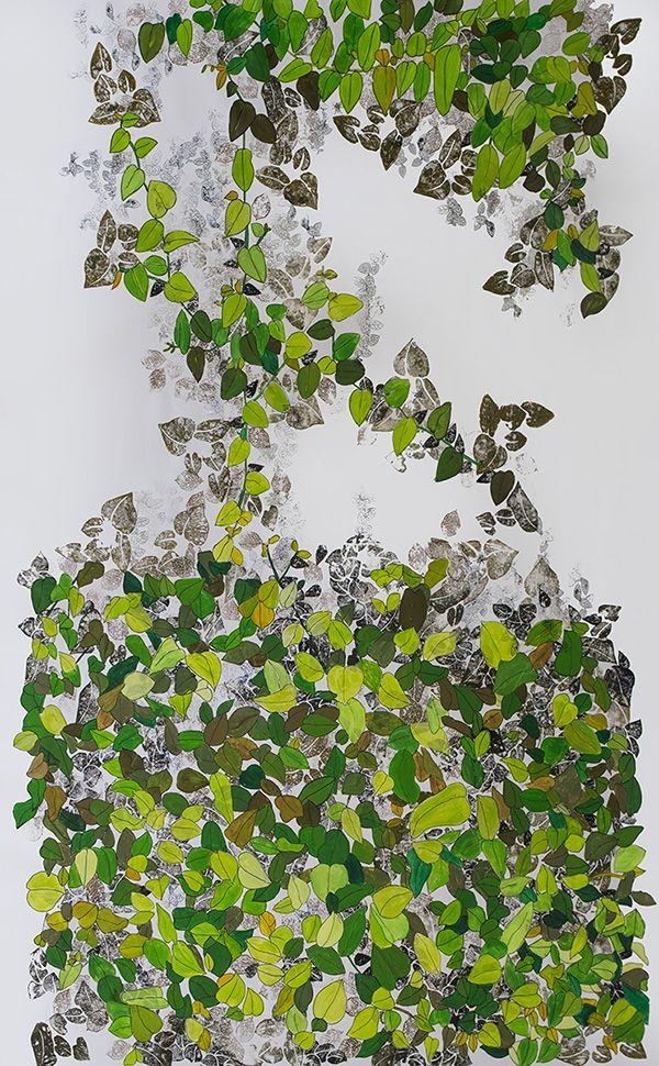 Enamorada del muro_ 130x185 cm_ acrílico sobre cuero ecológico_ 2016