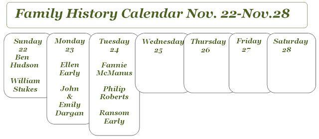 Carolina Girl Genealogy: This Week On My Family History Calendar