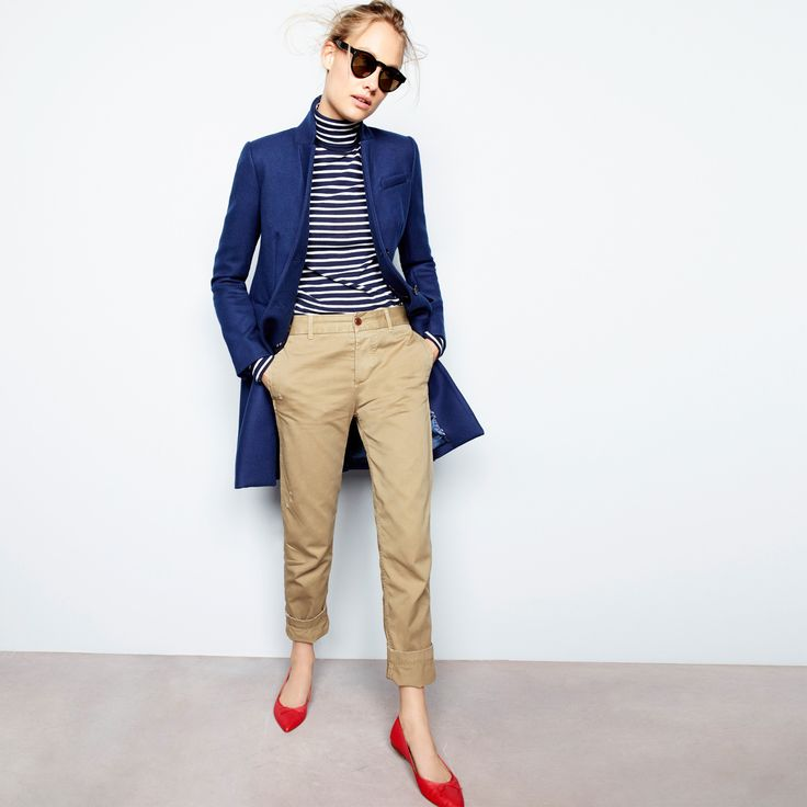 J.Crew Looks We Love: women's Regent topcoat, striped tissue turtleneck T-shirt, broken-in boyfriend chino, Illesteva™ black Leonard sunglasses and Gemma flats.