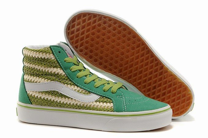 Vans SK8-Hi Weave Green Retro Women's Shoes #Vans