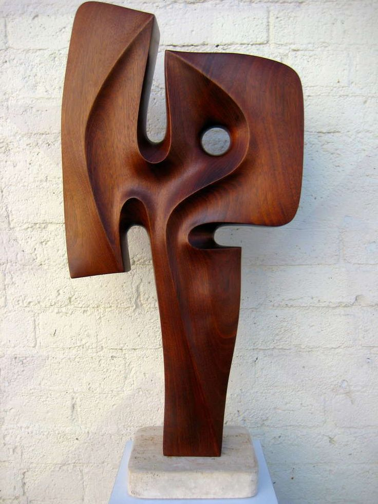 A Seductively Carved 1970's Mahogany Sculpture On Travertine Base. image 7 - This wonderfully scaled piece is in the manner of Barbara Hepworth and Henry Moore.