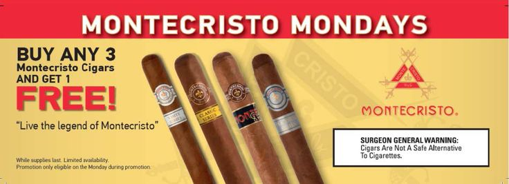 Montecristo Mondays at Cuenca Cigars Hollywood Florida. 'Buy 3 Montecristo Cigars get 1 Casa de Montecristo Cigar FREE'   Buy any 3 Montecristo Cigars in our lounge and you will receive a Casa de Montecristo cigar FREE! This cigar event will happens every Monday in our lounge  We are also extending this for the online community.   Shop now any three Montecristo Cigars and we will send you the FREE one! We will make an equivalent of the amount of cigars you buy! 954-364-7660