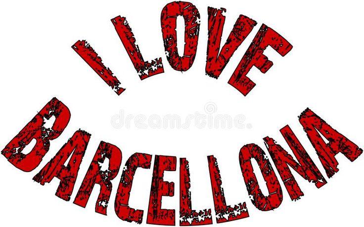 I Love Barcellona text sign illustration