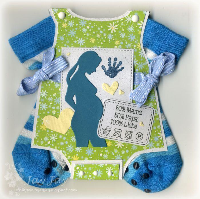 Stempeleinmaleins Infant mappa Creeper con vero calzini / bambino carta tutina con veri piccoli calzini
