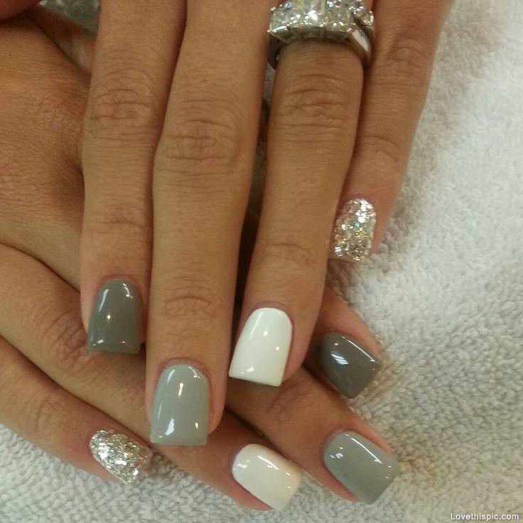 gray, silver, white & sparkle Acrylic Nails
