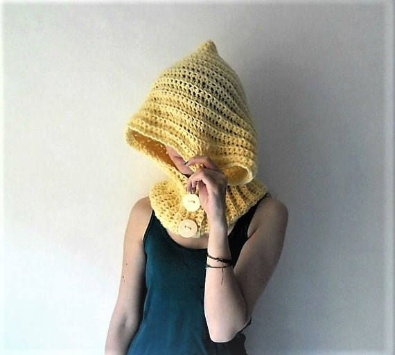 Crochet hood pixie hat chunky cowl with decorative buttons assorted colors