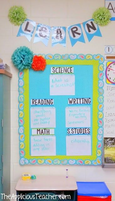Love this objective bulletin board- easy way to display objectives without using the chalkboard. Other great ideas for a 2nd grade classroom too!