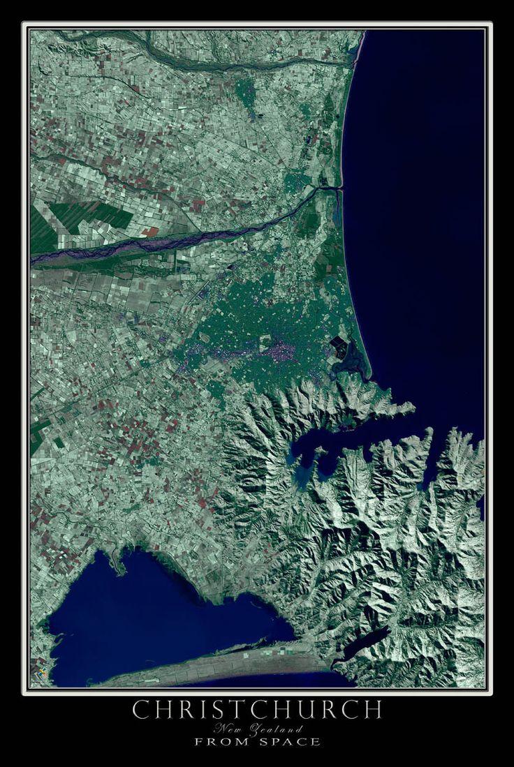 Christchurch New Zealand Satellite Poster Map