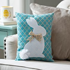 Blue Quatrefoil Bunny Pillow