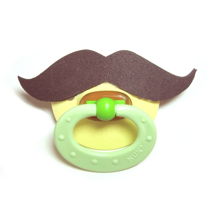Brown Mustache pacifier 0 to 6 by babestograndmas on Etsy, $10.00