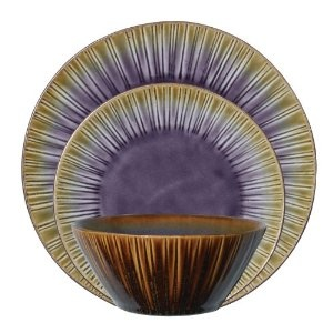 Gibson Cressa 12-Piece Reactive Stoneware Dinnerware Set, Purple