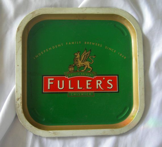 Square collectible beer tray featuring Fullers of Chiswick colors and logo. In good preowned vintage condition with some paint discoloration on