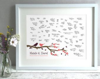 Birds Wedding Guest Book, Unique Wedding Guestbooks Ideas, Guestbook Alternative, Wedding Tree Guest Book, Personalised Print (unframed)